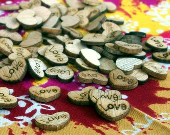 100 Tiny wooden Hearts, Rustic Wedding, Love, Confetti, Wedding, Barn Wedding, Wedding Shower, Baby Shower