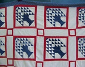 Antique QUILT Top Tree Of Life Pine Trees Indigo And Red STRIKING
