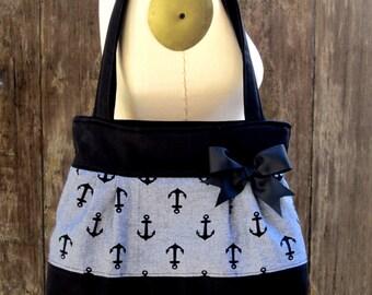 Anchor Purse, Rockabilly Anchor Handbag, Nautical Handbag, Sailor Tote