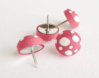 Quilled paper mushroom decorative thumbtacks, bulletin board, handmade push pins, teacher gift, fun office decor, whimsical gifts