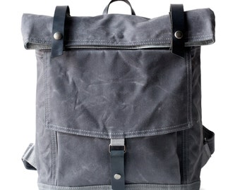 The Backpack in Gray waxed canvas