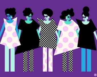 Unity Girls Print (Purple Black Blue and Pink Sisterhood Illustration, Best Friends Art, Feminism Print, Natural Hair Girl) 5x7, 8x10, 11x14
