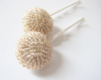 Nostalgic Wedding No.64 - Vintage Beaded Jewel Hair Pin Set, Bridal or Special Occasion Bobby Pins