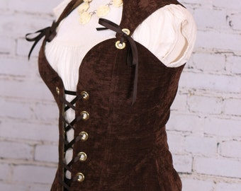 Waist 38-40 Bust 45-48 Chocolate Brown Courtier