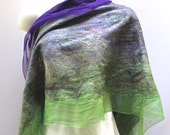 Nuno Shawl-Scarf felted sheer cashmere-soft  merino silk - Tulips colorway