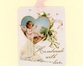 Handmade With Love Tags , Gift Tags , Little Angel , Tags For Handmade Items , Sewing Angel