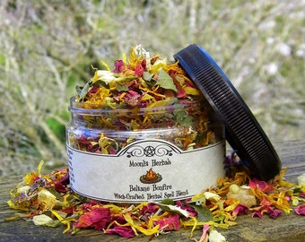 Beltane Bonfire Herbal Spell Blend - The Great Rite, Fiery Passion, Success, Purification, Altar Incense, Floor Sweep, Candle Magick