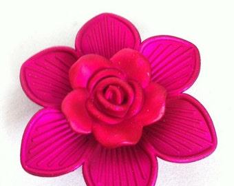 Womens Brooch, Hot Fuschia Flower Brooch - HUGE