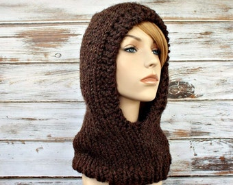 Tweed Brown Knit Hat Brown Knit Hood Brown Womens Hat - Brown Hooded Cowl Brown Cowl Brown Hood Brown Hat - 34 Color Choices