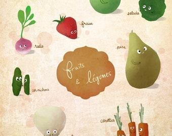 Veggies, french fruits and vegetables - A4 art print