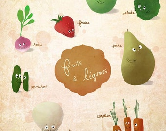 Veggies, french fruits and vegetables - art print
