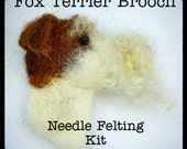 Fox Terrier Dog Brooch Needle Felting Kit DIY