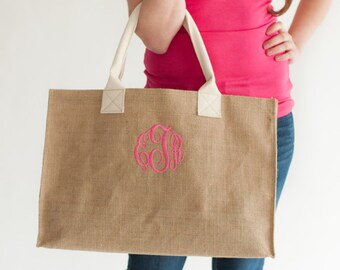 Monogrammed Burlap Tote Bag - Personalized Tote Bag - Burlap Tote Bag - Bridesmaid Gifts - Gifts Under 30 - Burlap Bag -  Gift For Her
