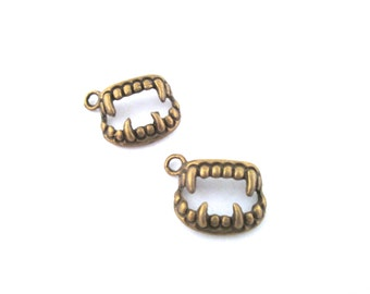 Brass vampire fangs teeth charms, pick your amount, G27