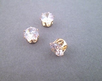 8mm Cubic Zirconia in 14k gold plated settings, pick your amount