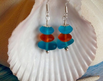 Sea glass Sterling silver earrings~beach glass jewelry~cultured ed glass earrings~turquoise blue~tangerine Orange drilled glass~wire wrapped