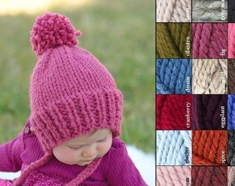 Knit Baby Bonnet, Child Pom Pom Thick Knit Hat, Knit Baby Hat, Knit Pom Beanie, Chunky Baby Hat, Chunky Child Hat, Baby Photo Prop Hat
