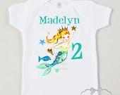 Mermaid Party Shirt - Birthday Mermaid Shirt - Girl Mermaid Party - Toddler Mermaid Party - Pool Party Tank - Choose Hair Color Personalized
