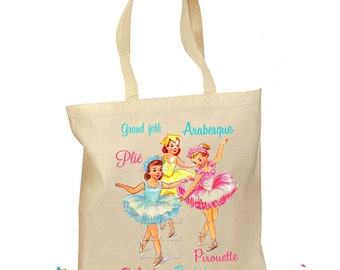 Girl Ballet Bag - Ballet Terms Tote Bag - Dance Bag Girl - Vintage Ballerina Bag - Pointe Tote Retro Gift Bag - Arabesque Ballerina Canvas