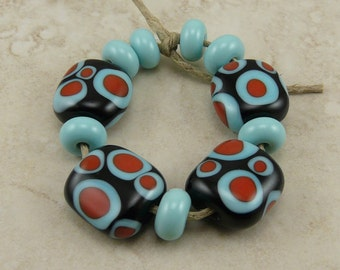 Microscopic Cells - Black Turquoise Coral Polka Dot Spot Abstract - Lampwork Bead Set - SRA - I ship Internationally