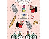 Cat Stickers French Kitty Sicker Sheet
