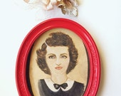 Vintage Oval Picture Frame Upcycled Wall Decor Apple RED