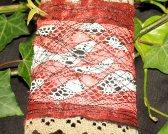Gorgeous Art Wrist Cuff Made with Vintage Lace - machine embroidery