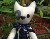 Plush Cat / Soft Doll / Stuffed Animal / Kip the Cat / Art Doll / Toy / Handmade Softie