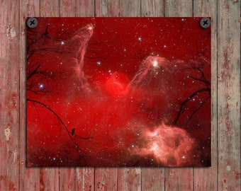 Crow Art Image, Surreal Wall Decor, Red And Black, Bird, Blackbird, Nature Print, Stars, Full Moon - Celestial Swirl