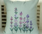 Silk Ribbon Embroidered Decorative Pillow, Purple Lavender Flowers, Cottage Garden Decor, Hand Dyed Ribbon, Honeysuckle Lane