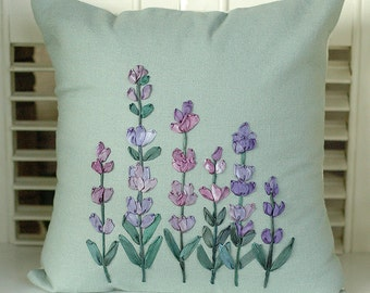 SALE Silk Ribbon Embroidered Decorative Pillow, Purple Lavender Flowers, Cottage Garden Decor, Hand Dyed Ribbon, Honeysuckle Lane
