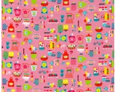 HALF YARD Kokka - Retro kitchen on PINK - Scale, Mixer, Mitt, Flour Canisters, Dish Towel, Salt and Pepper Shaker - Japanese Import Fabric