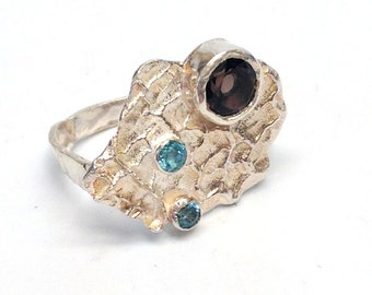 Eco Friendly Statement Ring with Recycled Sterling Silver, London Blue Topaz and Smoky Quartz-Blue Topaz Ring-Recycled Sterling Silver Ring