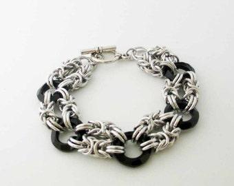 Black Swarovski Crystal Ring Byzantine Chainmaille Bracelet Handmade
