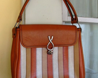Vintage Vinyl Faux Leather Orange Striped Purse Handbag