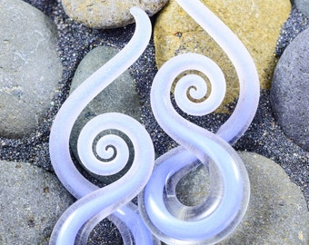 14G - 00G | Captured Periwinkle Seaglass | Mini Squids | Gauged Glass Body Jewelry for Stretched Piercings by Glassheart
