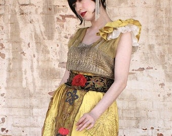 New  1920's Boudoir Queen Classic reworked chartreuse beaded Dress with heavy Metallic Lace