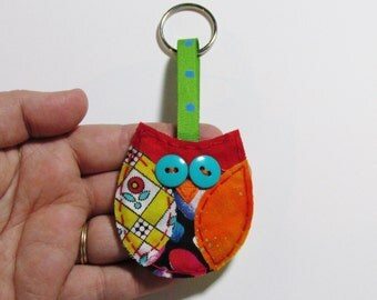 Owl Keychain, Owl Key Ring, Fabric Keychain, Scrap Fabric Accessory, Owl Accessory
