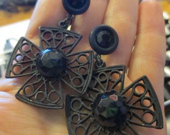 Gothic Black Jewel Cross Earrings Maltese Steampunk