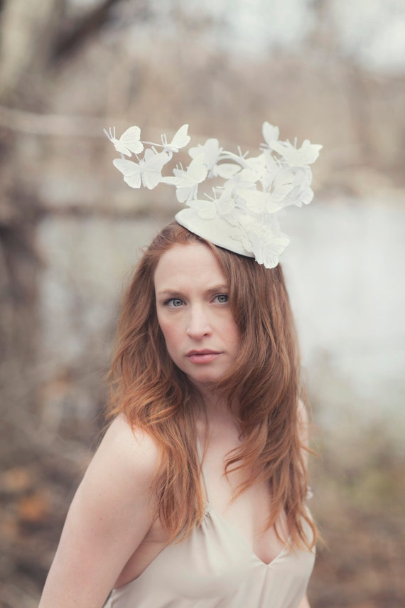 White Butterfly Hat