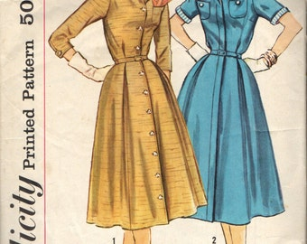 Simplicity 2142 Shirtwaist Coat Dress circa 1957 Half Size Slenderette 22 1/2