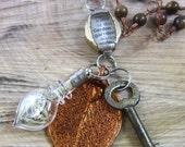 "forest collection: terrarium necklace with antique skeleton key ""garden"""
