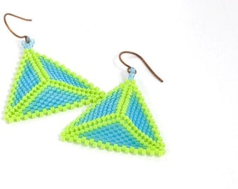 Triangle Earrings // Beaded // Lime Green and Blue // Beadwork // Seed Beads // Pierced // Made to Order