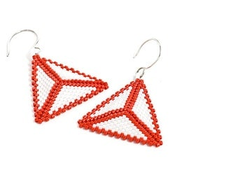 Triangle Earrings - Red and White, Beaded, Beadwork, Seed Beads, Pierced Earrings, Made to Order