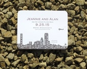 Skyline Save the Date Card Deposit - Boston, New York City, Seattle, Chicago, Minneapolis, Calgary