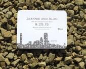 Skyline Save the Date Card Deposit - Boston, New York City, Seattle, Chicago, Minneapolis, Calgary