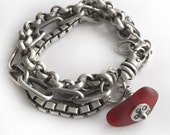 Red Seaglass Sterling Silver Heavy Triple Chain Charm Bracelet