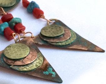 Southwestern Mixed Metal Dangle Earrings