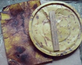 Rusty Yellow Flat Metal Pieces Textured Round & Rectangle   Primitive Sculpture, Assemblage or Altered Art