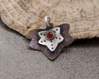 CS14 - Little Ivy Charm by ZLeslieJewelry - Copper and Sterling Silver Leaf with Carnelian Gemstone
